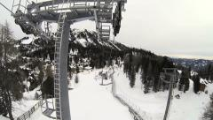 Ski lift far view Stock Footage