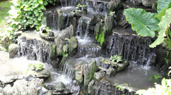 Relaxing with waterfall hand made in the garden Stock Footage