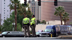 Road police officers at the Road intersection of Las Vegas - stock footage
