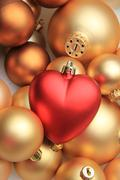 Red heart shaped christmas ornament Stock Photos