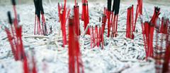 Burnt out Chinese incenses - stock photo