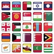 Asia Flags Square Buttons - stock illustration