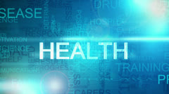 Montage fly through medical healthcare text blue motion BG Stock Footage