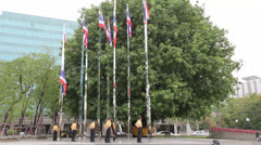 Thai people pay their respect to Thai flag everyday at 8 am and 6 pm Stock Footage