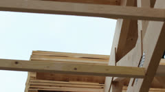 Building a wooden roof Stock Footage