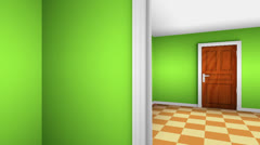 A maze of corridors and doors. 3D animation. - stock footage