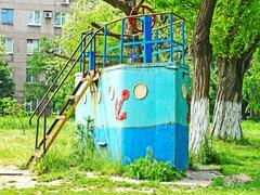old rusty decorative ship. - stock photo