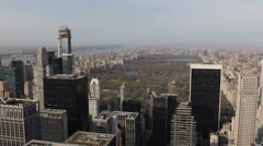 Cityscape Aerial View of Central Park, Manhattan Skyscrapers, New York City Stock Footage