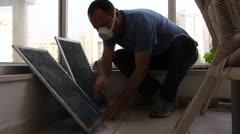 Cleaning air condition filters Stock Footage