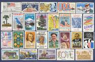 Set of different usa postage stamps. Stock Photos