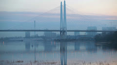 Big Obukhovsky Suspended bridge at early morning, St. Petersburg, Russia Stock Footage