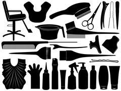 Equipment For Hair Dying Stock Illustration