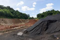 stockpile of coal - stock photo