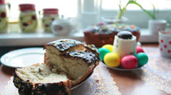 Easter cake in domestic kitchen with colored eggs, Russia Stock Footage