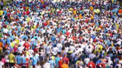 HD - City Marathon. Crowd of people Stock Footage