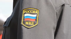 Russian police. patrolling the streets Stock Footage