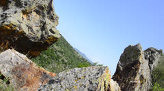 Huge iron and bronze mine rocks Stock Footage