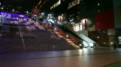 Colored stairways with night illumination in Kyoto Station, Japan Stock Footage