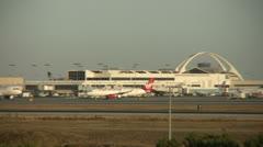 Virgin America Airlines Jet Departs Airport Stock Footage