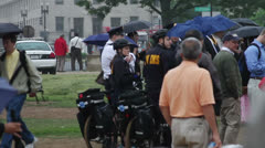 DC police on mall at live event Stock Footage