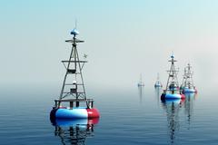 Sea buoys during day. Stock Illustration