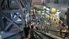 Kyoto railway station hall with passengers, Japan Stock Footage