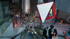 Futuristic interior of Kyoto railway station from escalator, Japan Stock Footage