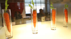 Carrots on restaurant display - stock footage