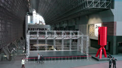Empty stage for performance in Kyoto railway station, Japan Stock Footage