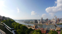 Pittsburgh Skyline Pan Fish Eye Lens Stock Footage