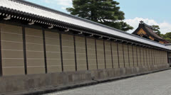 Wall and Seisho-mon gate in Imperial Palace in outer garden. Kyoto, Japan Stock Footage