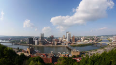 Pittsburgh Skyline Tilt Up Fish Eye Lens Stock Footage