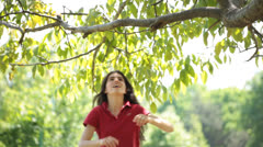 Brunette Young Adult Woman Hangs on Tree Branch Stock Footage