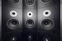 Wall of speakers. - stock illustration