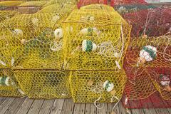 Crab pots on a dock in north carolina Stock Photos