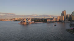Afternoon aerial of Sydney Harbour Stock Footage