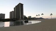 Honolulu Lagoon morning sunrise with Diamond Head Stock Footage