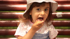 Little Girl Leaks Cake Stock Footage