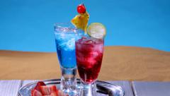Colorful summer drinks Stock Footage