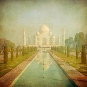 Vintage image of taj mahal, agra, india Stock Illustration