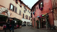 Stock Video Footage of Typical street in Rome, Italy. Colorful buildings. Trastevere