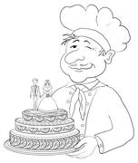 Cook with holiday wedding cake, contour Stock Illustration