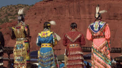 Native American Powwow Dancers -  4 Females Standing - Red Rocks Stock Footage