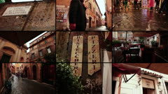 Typical street in Rome, Italy. Trastevere and Campo de Fiori Stock Footage