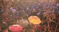 Crowd at concert under the rain Footage