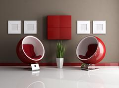 red and brown modern interior - stock illustration