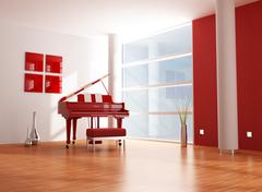 red and white  music room - stock illustration