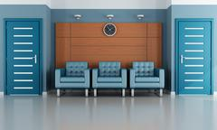 blue waiting room - stock illustration