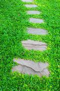 Stone walkway in the garden Stock Photos
