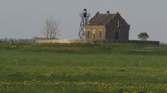 SCHOKLAND Lighthouse zoom out polder, reclaimed land Stock Footage